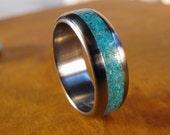 Titanium Wedding Ring with Turquoise Stone Inlay