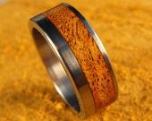 Titanium and Mesquite Inlay Ring (offset)