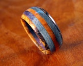 Wood Ring- Five Band Ring with Buckeye, Blue Box Elder, and Osage Orange