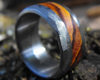 Titanium Ring, Wood Ring, Cocobolo Ring, Wedding Ring, Wood Inlay Ring, Titanium Wood Ring, Mens Wedding Ring, Wood Wedding Ring, Promise