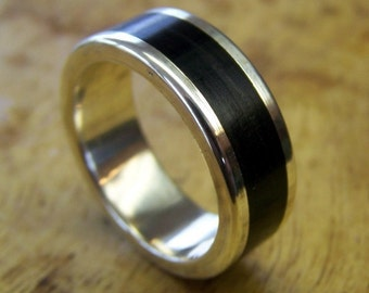Silver Ring, Silver and Ebony Ring, Wedding Ring, Wood Ring, Mens Ring, Womens Ring, Sterling Silver Ring, Unique Ring, Handmade Ring