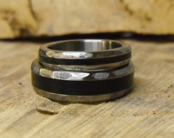 Titanium Rings, Wedding Rings, Wedding Ring Set, His and Hers Rings, Wood Rings, Ebony Rings, Mens Ring, Womens Ring, Mens Wedding Ring