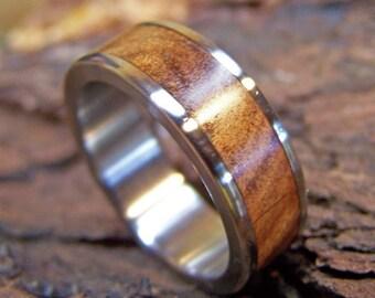Titanium Ring, Wedding Ring, Wood Ring, Ancient Kauri Ring, Mens Ring, Womens Ring, Mens Wedding Ring, Wood Wedding Ring, Wood Inlay Ring