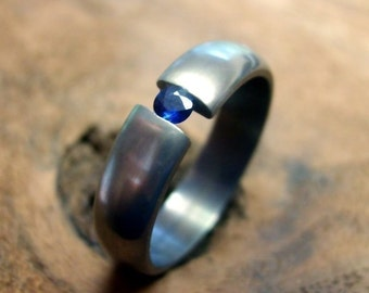 Titanium Ring, Sapphire Ring, Wedding Ring, Engagement Ring, Tension Set Ring, Mens Ring, Womens Ring, Mens Wedding Ring, Promise Ring