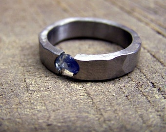 Titanium Ring, Sapphire Ring, Wedding Ring, Engagement Ring, Mens Ring, Womens Ring, Tension Set Ring, Engraved Ring, Wedding Band, Unique