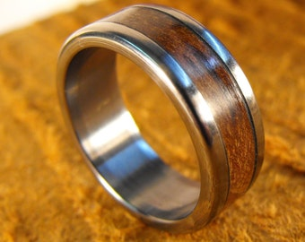 Titanium Ring, Wedding Ring, Wood Ring, Wood Inlay Ring, Pecan Ring, Personalized Ring, Wood Wedding Ring, Mens Ring, Womens Ring, Custom