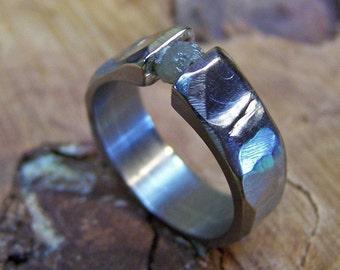 Titanium Ring, Diamond Ring, Uncut Diamond Ring, Tension Set Ring, Wedding Ring, Mens Ring, Womens Ring, Engagement Ring, Engraved Ring