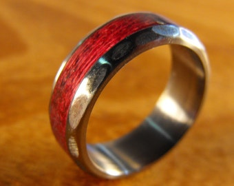 Titanium Ring, Purpleheart Ring, Wood Ring, Titanium and Purpleheart Ring, Wedding Ring, Mens Ring, Womens Ring, Wedding Band Set, Unique