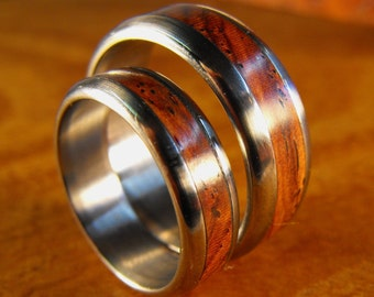 Titanium Rings, Wood Rings, Wedding Rings, Wedding Band Set, Cocobolo Ring, His and Hers Rings, Mens Wedding Ring, Titanium Wood Rings