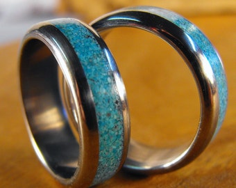 Titanium Rings, Wedding Rings, Turquoise Rings, Wedding Band Set, His and Hers Rings, Mens Ring, Womens Ring, Mens Wedding Ring, Blue Rings