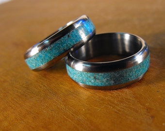Titanium Rings, Wedding Rings, Turquoise Rings, His and Hers Rings, Matching Ring Set, Wedding Band Set, Mens Wedding Ring, Womens Ring