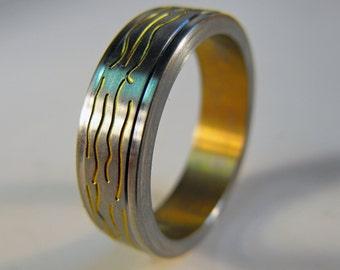 Amber Waves (Anodized Titanium Ring)