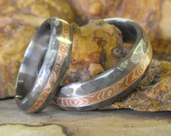 Titanium Rings, Wedding Rings, Mokume Gane Rings, Wedding Band Set, His and Hers Rings, Mokume Wedding Rings, Mokume Rings, Matching Ring