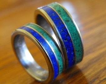 Titanium Rings, Wedding Rings, Malachite Rings, Lapis Lazuli Rings, Wedding Band Set, His and Hers Rings, Engagement Ring, Mens Ring, Womens