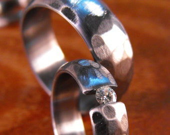 Titanium Rings, Wedding Rings, Moissanite Ring, Engagement Ring, Tension Set Ring, His and Hers Rings, Wedding Ring Set, Custom Made Ring
