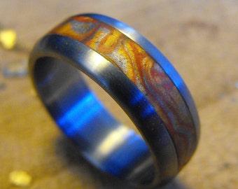 Titanium Wedding Ring- Metallic Waves
