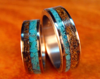 Wedding Rings, Titanium with Tigers Eye and Turquoise, Titanium Ring, Tigers Eye Ring, Turquoise Ring, His and Hers Set, Custom Made Ring