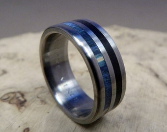 Titanium Ring, Wood Ring, Wedding Ring, Blue Ring, Ebony Ring, Mens Ring, Womens Ring, Custom Made Ring, Engagement Ring, Mens Wedding Ring