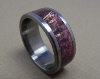 Titanium Ring, Wood Ring, Purple Box Elder Ring, Purple Ring, Wood Inlay Ring, Mens Ring, Womens Ring, Custom Made Ring, Wood Wedding Ring