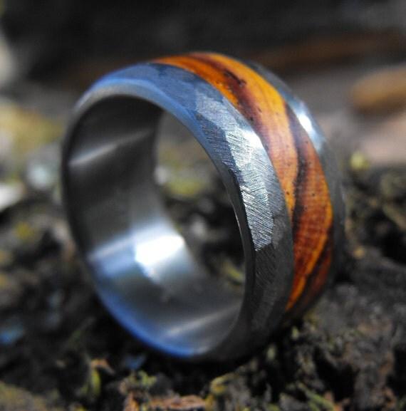 Titanium Ring, Wedding Ring, Distressed Ring, Wood Ring, Mens Ring, Womens Ring, Wedding Band, Handmade Ring, Wedding Band Set, Unique Ring