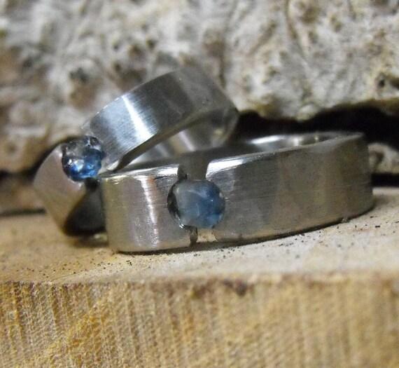 Titanium Rings, Sapphire Rings, Wedding Rings, Engagement Ring, Mens Ring, Womens Ring, Tension Set Ring, Engraved Ring, Wedding Band