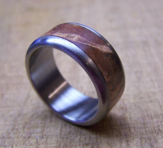 Titanium and Manzanita Burl Inlay Ring