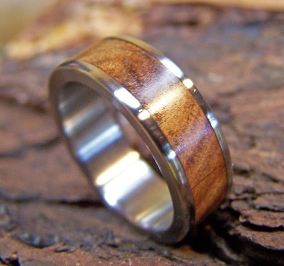 Titanium Ring Wedding Ring Wood Ring Ancient Kauri Ring