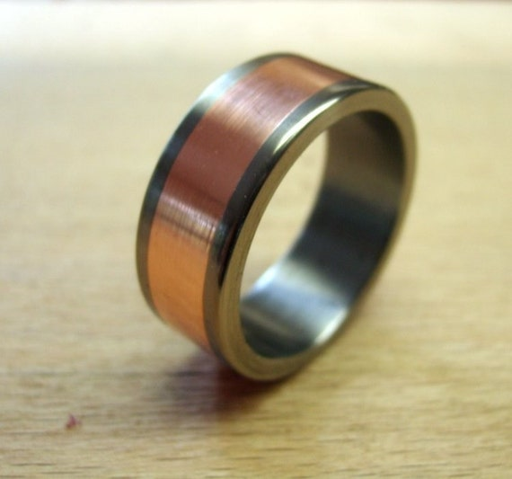 Titanium ring copper ring wedding ring mens ring womens for Mens copper wedding rings