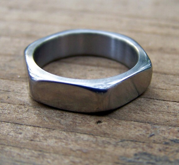 Titanium Ring, Hardware Ring, Nut Ring, Wedding Ring, Mens Ring, Womens Ring, Custom Made Ring, Engagement Ring, Wedding Band Set