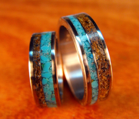 Wedding Rings Titanium with Tigers Eye and Turquoise