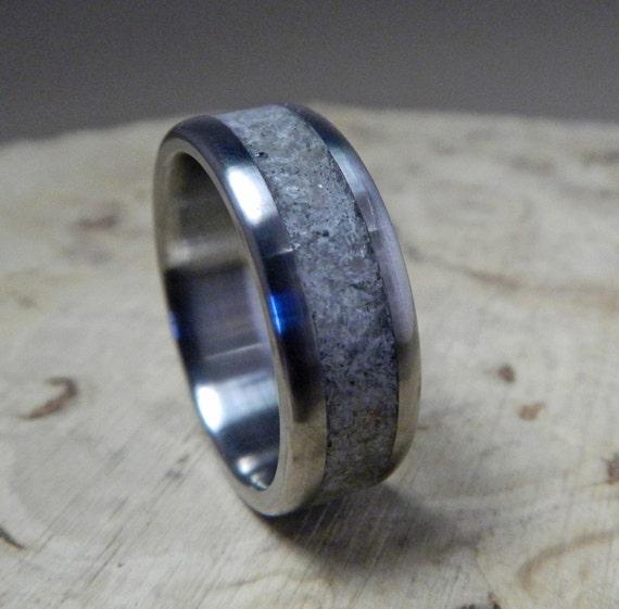 Quartz Wedding Rings Titanium Wedding Ring Titanium With Rose Quartz Inlay