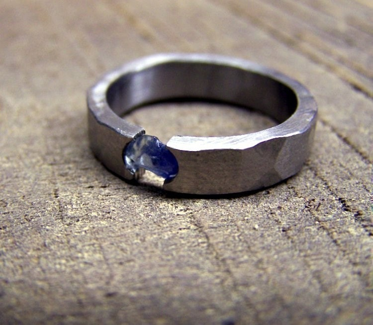 titanium ring sapphire ring wedding ring engagement ring mens ring womens - Mens Sapphire Wedding Rings