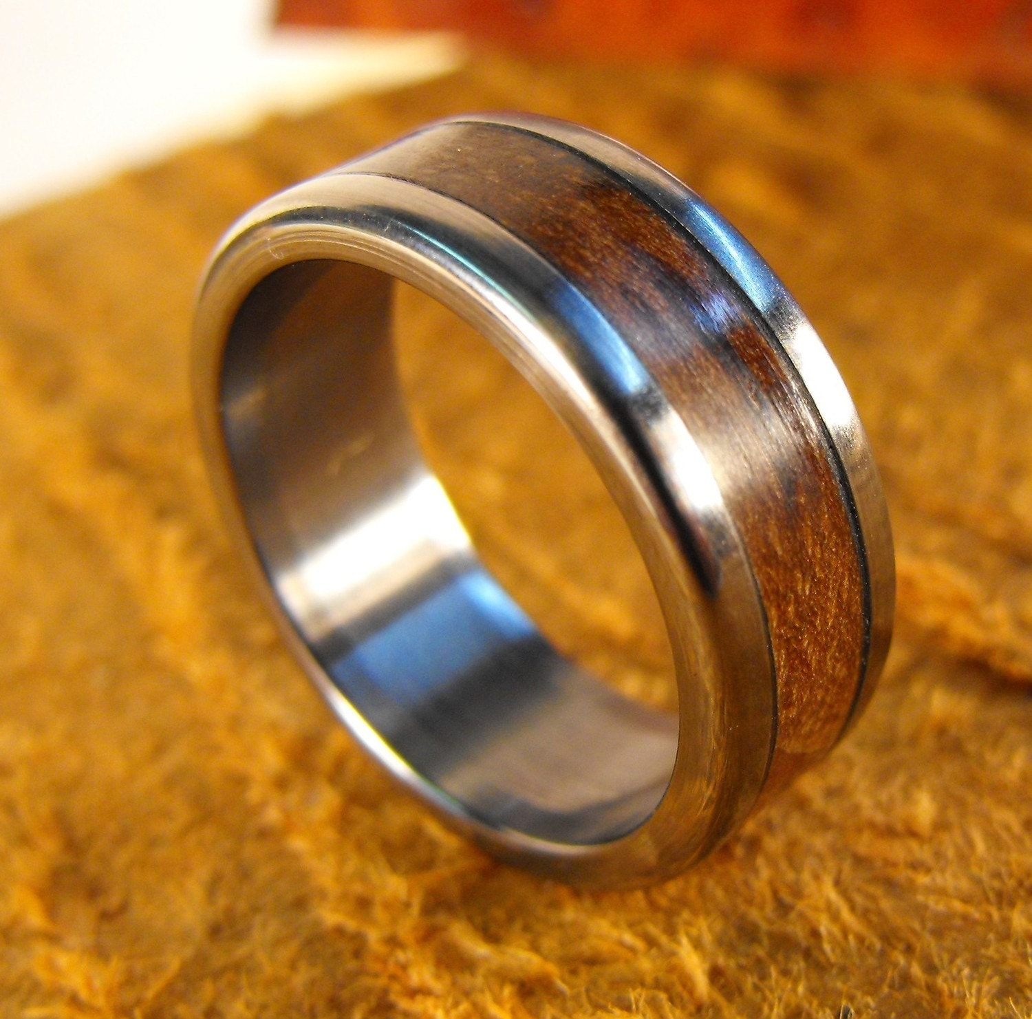 Titanium Ring Wedding Ring Wood Ring Wood Inlay Ring Pecan