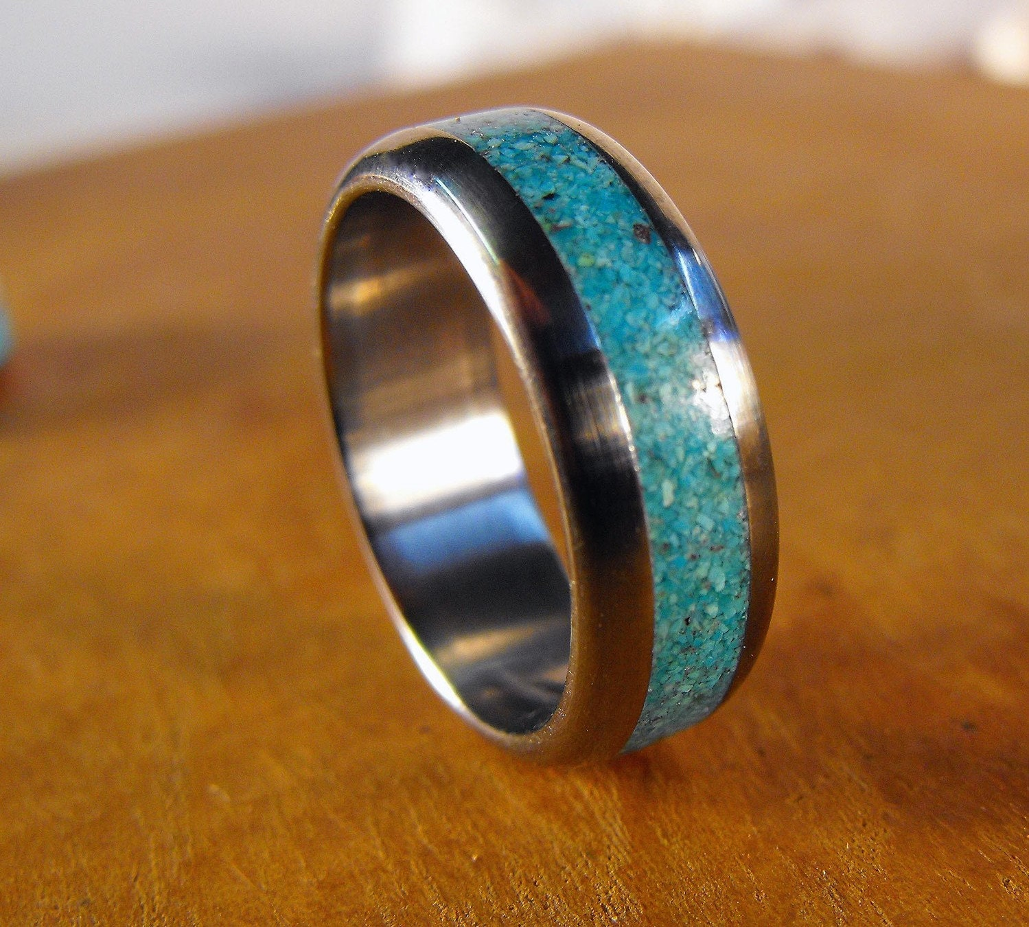 Mens Turquoise Wedding Rings Titanium Ring Turquoise Ring Wedding Ring Mens Ring Womens