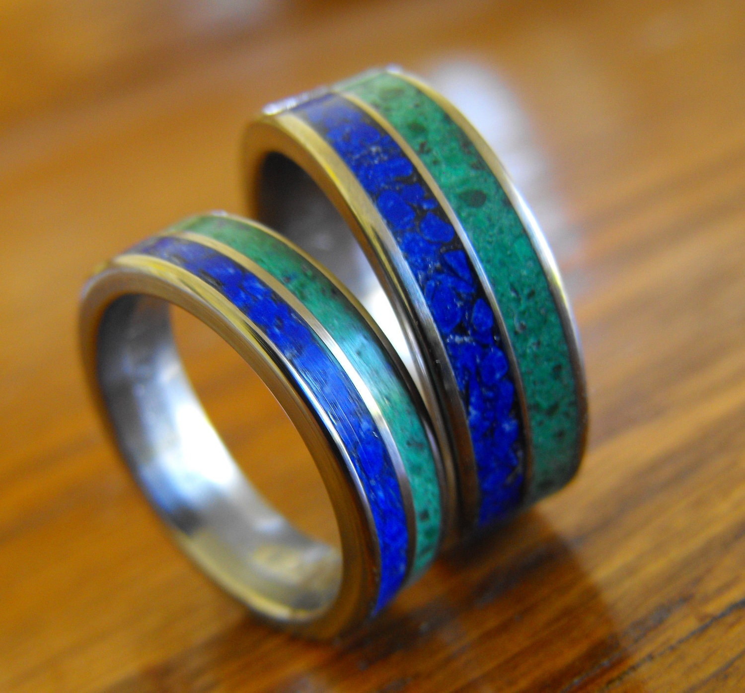 Wedding Rings Titanium Rings Wedding Band Set His and Hers