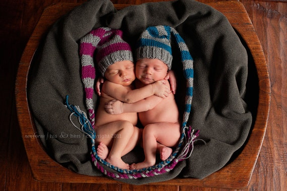 Twin Stocking Hats set of two infant newborn photography props