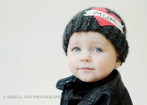Tattoo MOM Hat  gray infant newborn baby toddler photography prop