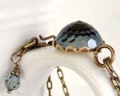 Deep Blue Crystal Pendant Necklace - Very Rare Vintage Swarovski Crystal, Brass Setting and Chain