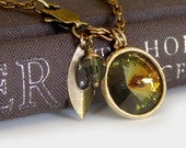 Multi color Swarovski Crystal Necklace - Vintage Crystal and Antiqued Brass Chain