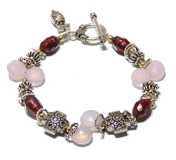 RESERVED - Pink Chalcedony Bracelet - Faceted Pearl and Sterling Silver