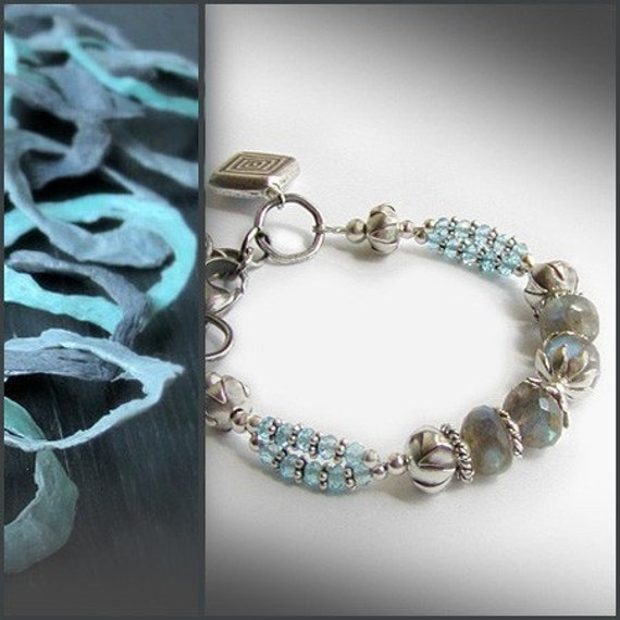 Labradorite, Swiss Blue Topaz Bracelet with Silver
