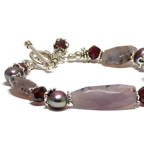 Moss Amethyst Bracelet, Asymetrical with Garnet, Sterling Silver