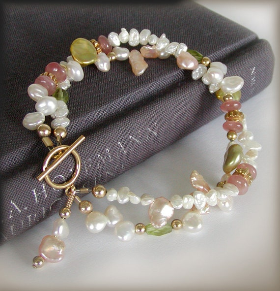 Keishi Pearl Bracelet - Multi Strand, Peridot, Rhodochrosite, Gold Filled