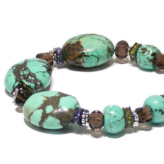 Chunky Turquoise Bracelet with Sterling Silver and Dressed Up Details