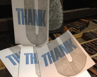 SALE - Letterpress Thank You Cards - Set of 4