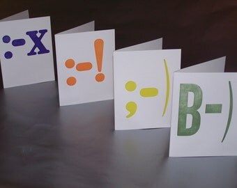 SALE - Letterpress Emoticon Note Cards - Set of 4