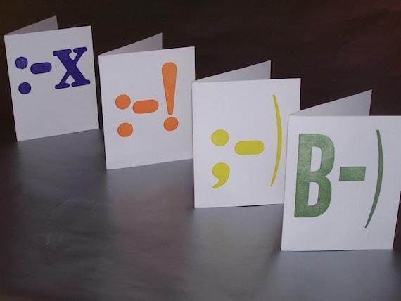 SALE - Letterpress Emoticon Note Cards - Set of 4