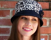 Womens Hat Cloche Hat - Black and White Cotton Hat  with polka dot flower - Jade