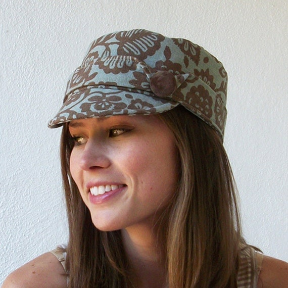 Relax Cap Womens Hats, Military Hat - Brown and Blue Floral  Cotton Hat