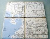 Tampa, FL Map Coasters